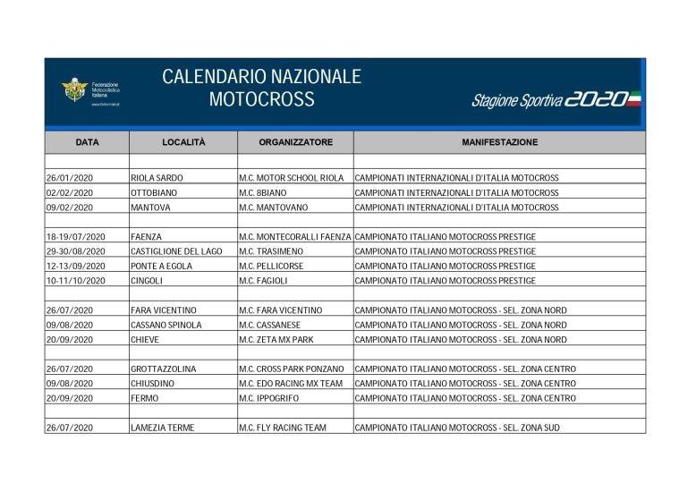 Calendario nacional de motocross: novedades y cambios tras la actualización