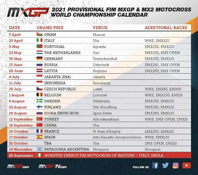 Calendario provvisorio Mondiale MXGP 2021   Xoffroad